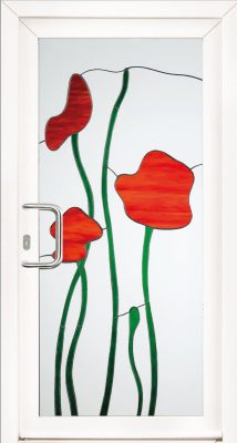 belle porte d-entree motif fleur